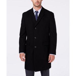 Black Long Wool Blend Men's Overcoat
